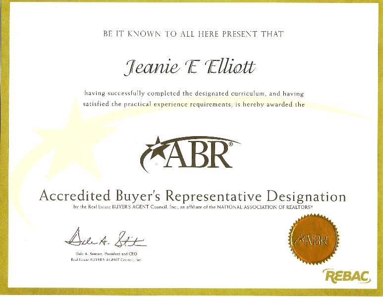 ABR Certificate of Achievement From REBAC